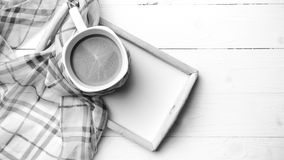 Coffee and scarf background black and white color style Royalty Free Stock Photo