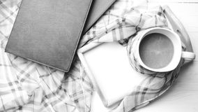 Coffee and scarf background black and white color style Stock Image