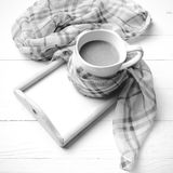 Coffee and scarf background black and white color style Stock Images