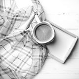 Coffee and scarf background black and white color style Stock Photos