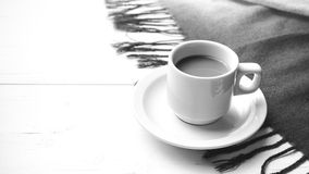 Coffee and scarf background black and white color Stock Photos