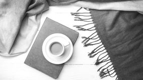 Coffee and scarf background black and white color Stock Photo
