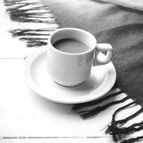 Coffee and scarf background black and white color Stock Images