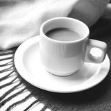 Coffee and scarf background black and white color Royalty Free Stock Image