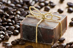 Coffee scented soap Stock Images