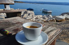 Coffee by the sea Stock Image