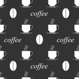Coffee seamless background black and white Royalty Free Stock Photography