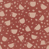 Coffee seamless background. Coffee cups seamless pattern. Stock Photo