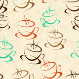 Coffee seamless background for your design Stock Images