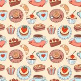 Coffee seamless cartoon pattern. Royalty Free Stock Photos