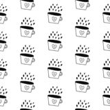 Coffee seamless cute pattern black with white vector illustration