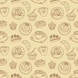 Coffee seamless line pattern. Stock Image