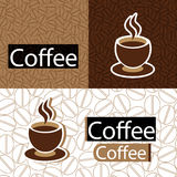 Coffee seamless pattern. Cup of coffee design and coffee beans seamless pattern wallpaper,  illustration Stock Photo