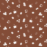 Coffee seamless pattern. Seamless pattern with coffee cups and beans Royalty Free Stock Photos