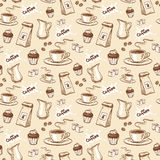 Coffee seamless pattern. Seamless pattern with coffee beans, cup of coffee, cupcake, milk, packet of coffee and sugar cubes. Hand drawn vector illustration Royalty Free Stock Image