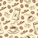 Coffee seamless pattern. Seamless pattern with coffee beans, cup of coffee, packet of coffee and sugar cubes. Hand drawn vector illustration Royalty Free Stock Photography