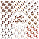 Coffee seamless pattern of beans, cups icons Stock Image