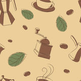 Coffee. Seamless pattern with coffee beans, cups and leafs Royalty Free Stock Photo