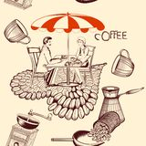Coffee seamless pattern with cafe table, coffee and cute couple Royalty Free Stock Photo