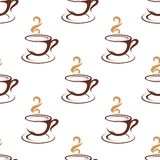 Coffee seamless pattern with cappuccino cups Stock Image