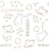 Coffee seamless pattern with coffee beans, turk and cups. Stock Photos