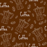 Coffee seamless pattern with coffee maker. Cafe background, texture, paper. Vector illustration. Royalty Free Stock Photo