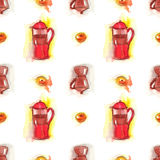Coffee seamless pattern, coffee makers and donuts Royalty Free Stock Photography