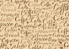 Coffee seamless pattern with coffee words in retro style Stock Photo