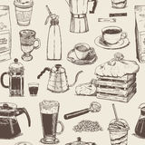 Coffee seamless pattern collection Royalty Free Stock Photos