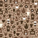 Coffee seamless pattern with a cups. Brown texture of coffee icons Stock Photos