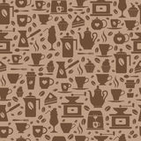 Coffee seamless pattern with a cups. Brown texture of coffee icons Royalty Free Stock Photo