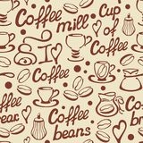 Coffee seamless pattern with cups and lettering vector illustration
