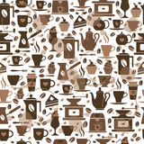 Coffee seamless pattern with a cups. Seamless texture of coffee icons Royalty Free Stock Image