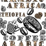 Coffee seamless pattern with ethnic African ornament, coffee gra Royalty Free Stock Images