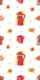 Coffee seamless pattern, french press and moka pot Royalty Free Stock Image