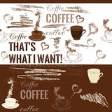 Coffee seamless pattern with hand drawn coffee objects Stock Photos