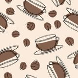 Coffee seamless pattern. Hand drawn doodle coffee background. royalty free illustration