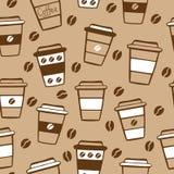 Coffee seamless pattern on light beige background Stock Image