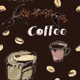 Coffee seamless pattern set drawn by hand. Seamless pattern with coffee grains, fruits of coffee, a bag of coffee and text on a dark background .  Hands painted royalty free illustration