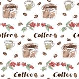 Coffee seamless pattern set drawn by hand. Seamless pattern with coffee grains, fruits of coffee, a bag of coffee and text on a white background .  Hands painted stock illustration