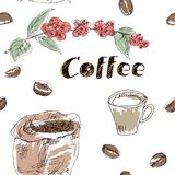 Coffee seamless pattern set drawn by hand. Seamless pattern with coffee grains, fruits of coffee, a bag of coffee and text on a white background .  Hands painted vector illustration