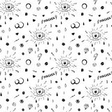 Coffee seamless pattern in tattoo style Stock Photography