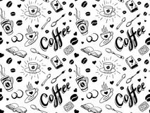 Coffee seamless pattern in tattoo style Royalty Free Stock Photos