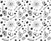 Coffee seamless pattern in tattoo style Stock Image
