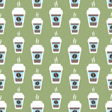 Coffee seamless pattern, vector background. Cups of and beans. For lover. Coffee seamless pattern, vector background. Cups of coffee and coffee beans. For coffee royalty free illustration