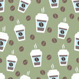 Coffee seamless pattern, vector background. Cups of  and  beans. For  lover. Coffee seamless pattern, vector background. Cups of coffee and coffee beans. For Royalty Free Illustration