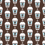Coffee seamless pattern, vector background. Cups of  and  beans. For  lover Royalty Free Stock Images