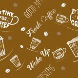 Coffee seamless pattern vector illustration on brown background. On brown background vector illustration
