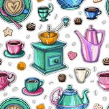 Coffee seamless pattern vector sweet Royalty Free Stock Image