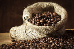Coffee seed on burlap sack Stock Photos